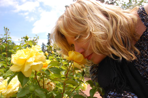 The author smelling a rose in the test garden.